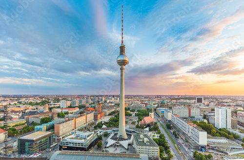 Garden Poster Berlin Berlin skyline with TV tower at sunset, Germany