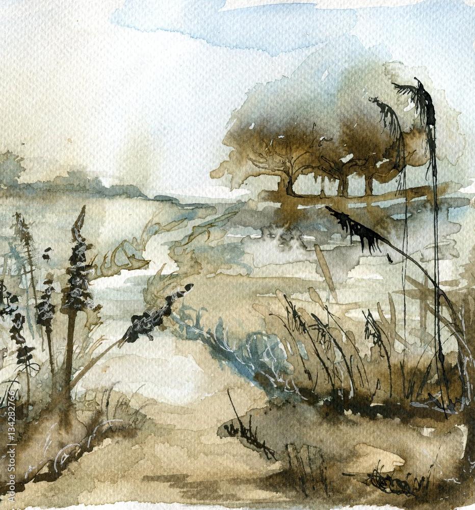 akwarela krajobraz <span>plik: #134232766 | autor: bruniewska</span>