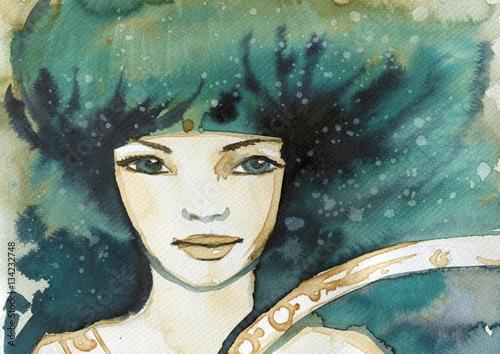Photo sur Aluminium Inspiration painterly Watercolor portrait of a woman.