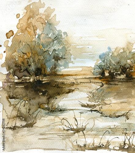 Tuinposter Schilderkunstige Inspiratie watercolor landscape