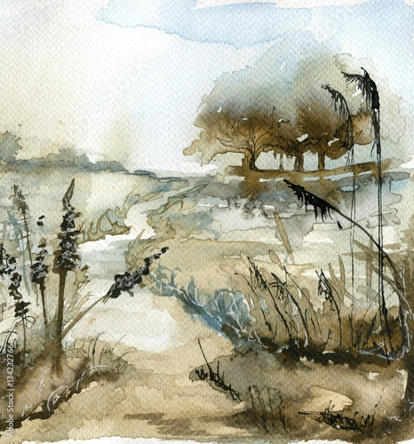 Montage in der Fensternische Aquarelleffekt Inspiration watercolor landscape