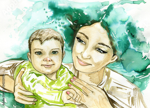 Keuken foto achterwand Schilderkunstige Inspiratie woman and children , watercolor picture