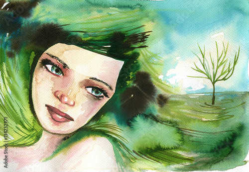 Foto op Aluminium Schilderkunstige Inspiratie Watercolor portrait of a woman.