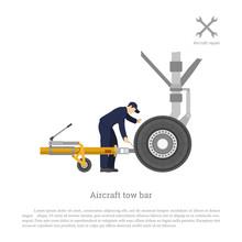 Repair And Maintenance Of Airplane. Mechanical Locks The Tow Bar