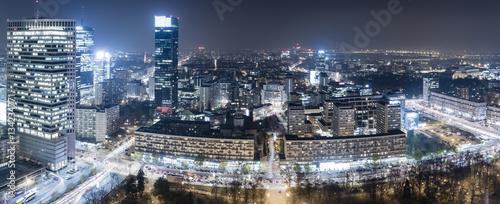 Fototapeta modern city center of Warsaw, skyscrapers obraz