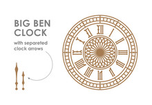 Big Ben Dial With Clock Hands.