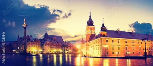 Fototapeta Warsaw,Poland-November 2016:Royal Castle and Sigismund's Column obraz