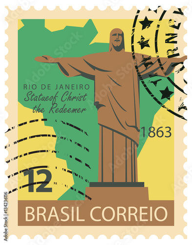 Brazilian postage stamp with Statue of Christ the Redeemer in RIO DE JANEIRO and Canvas Print