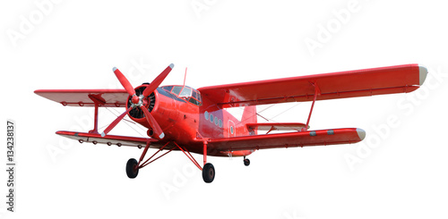 Deurstickers Vliegtuig Red airplane biplane with piston engine