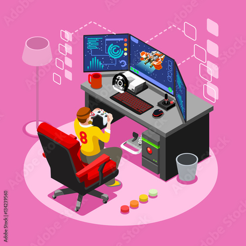 Fotografering  Video game screen and gamer person gaming online with console controller android phone or computer