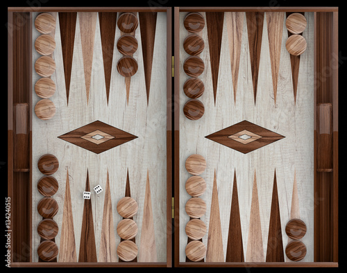 Fototapeta Wooden backgammon board. 3d illustration