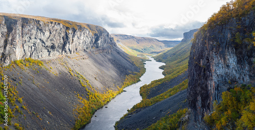 Foto auf Gartenposter Skandinavien The Alta canyon: view of River Alta and gorge. Finnmark, Norway