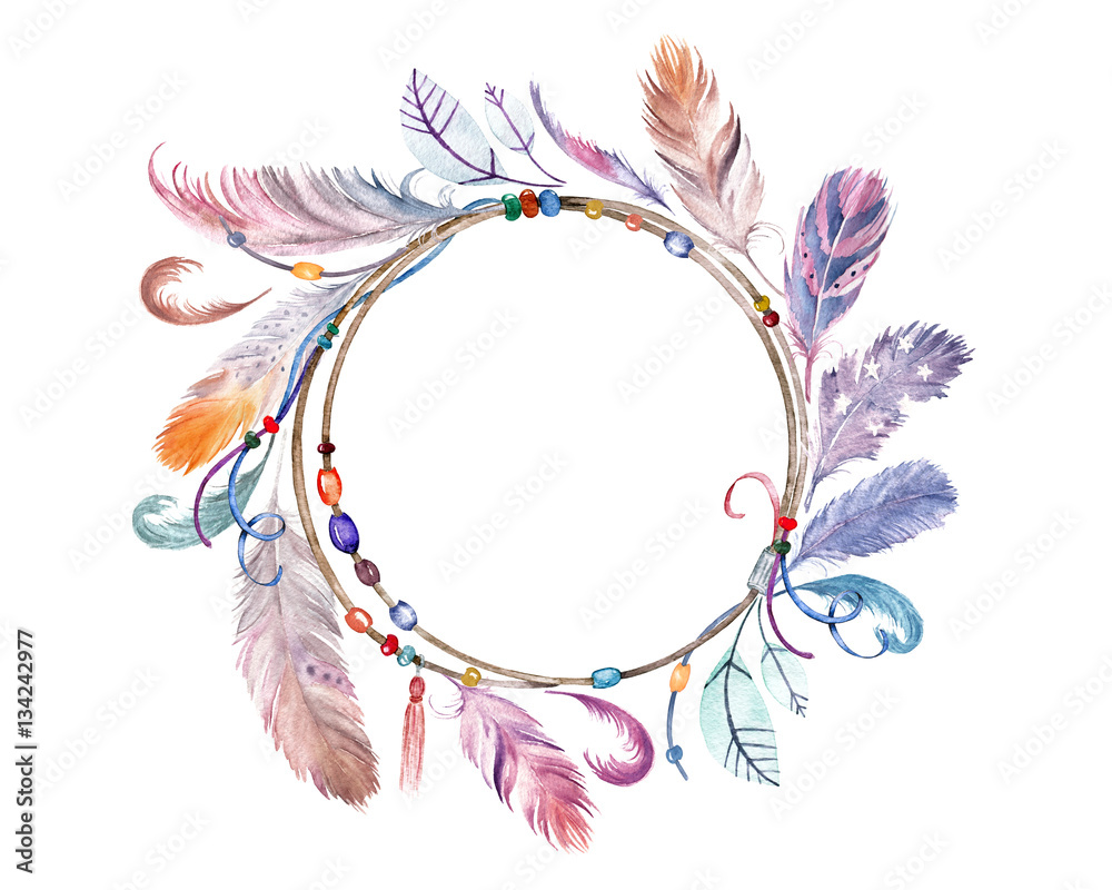 Watercolor colorful feathers frame. Hand drawn boho wreath for wedding