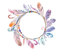 Watercolor Colorful Feathers F...