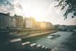 canvas print picture - Water- and Cityview from Ile de la Cite - Paris