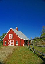 New England Red Barn And Fence...