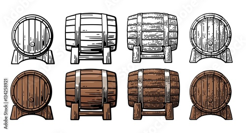 Fényképezés Wooden barrel front and side view engraving vector illustration