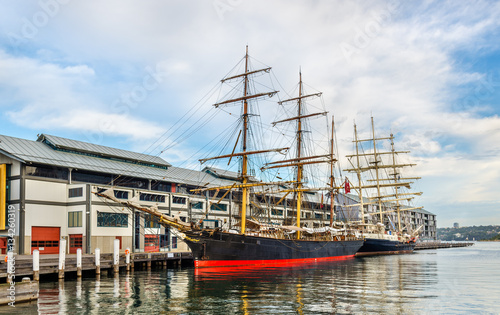 Vintage sailing ships in Sydney Harbour, Australia Wallpaper Mural