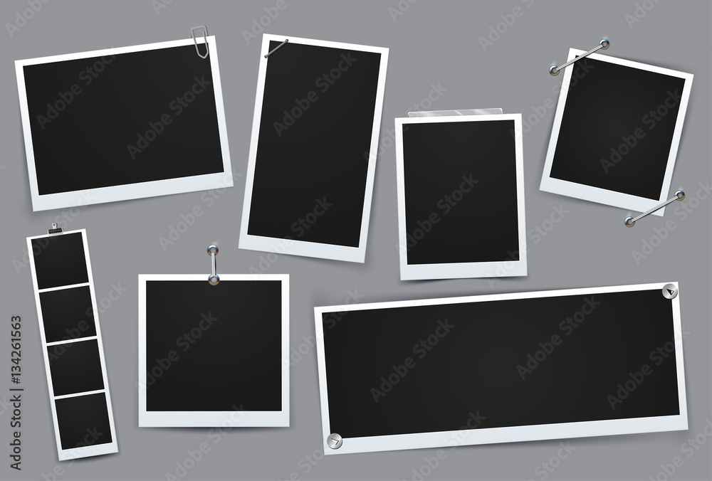 Fototapety, obrazy: Classic retro style. Collection of vector template photo frame, Isolated on gray background. design for your photography and picture. Vector Illustration