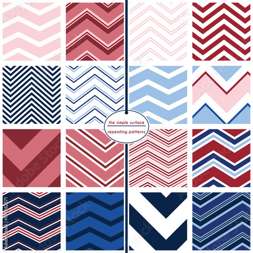 Fotografie, Obraz  A variety of sixteen colorful chevron repeating patterns all available in one in