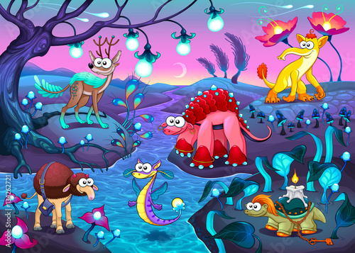 Poster Chambre d enfant Group of funny animals in a fantasy landscape