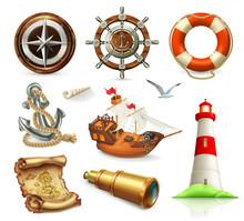 Marine Set. Summer Vacation 3d Vector Icons