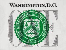 US One Dollar Bill Closeup, 1 Usd Treasury Seal, USA Federal Fed Reserve Note Extreme Macro, United States Money Closeup.