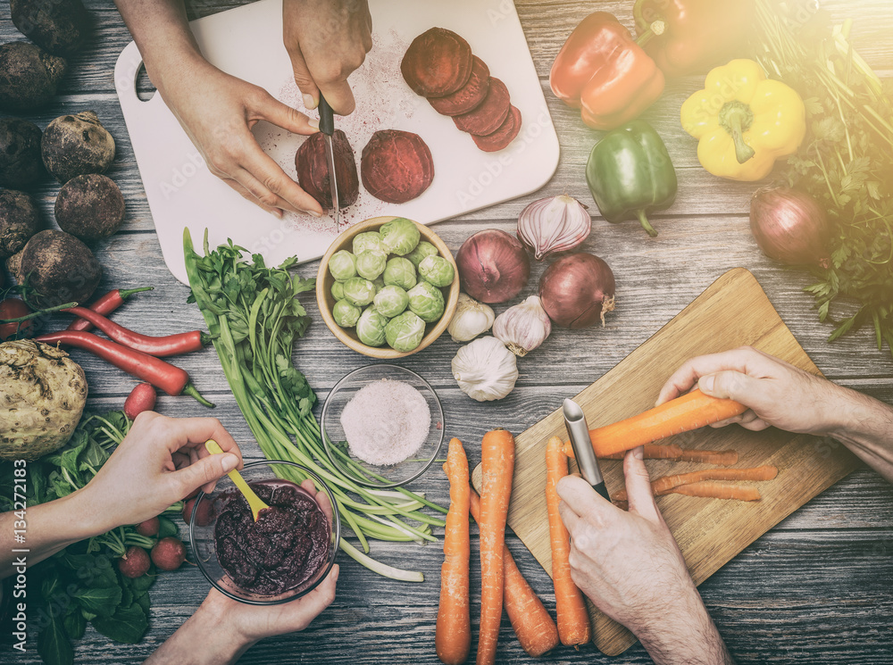 Fototapety, obrazy: Preparing vegetables for a meal.