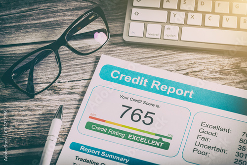 Fotografie, Obraz  report credit score banking borrowing application risk form