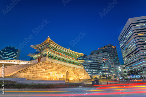 Namdaemun Gate and Seoul city skyline at night, Seoul, South Korea