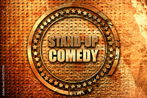Fotografija  stand-up comedy, 3D rendering, grunge metal stamp