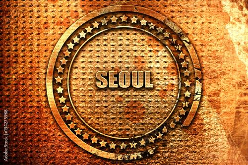 seoul, 3D rendering, grunge metal stamp Poster