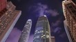 Time-lapse of Building in Hong Kong city at night, China