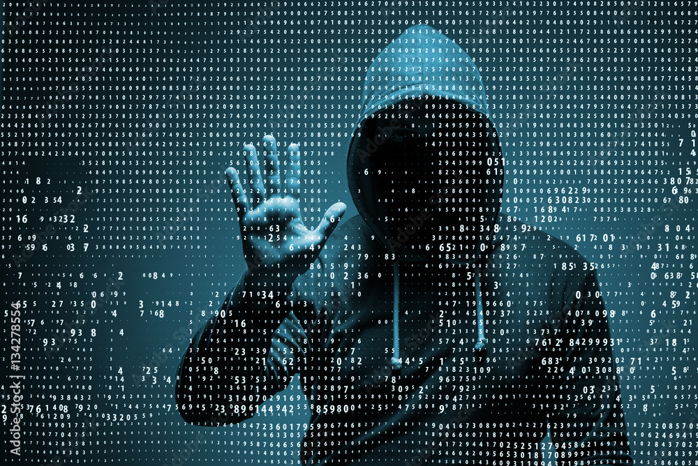 Fototapeta Young hacker in data security concept