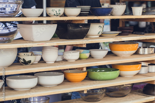 Fotografering  Asian art Bowl collection, various type size and style for food