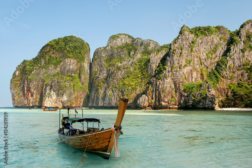 Longtail boat anchored at Maya Bay on Phi Phi Leh Island, Krabi