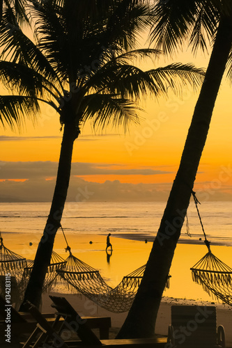 Hammocks With Golden Beach Sunrise - Panglao, Philippines Canvas Print