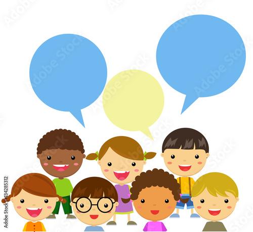 Foto op Canvas Regenboog happy kids talking