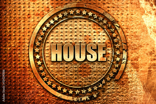 house-music-3d-rendering-grunge-metal-stamp