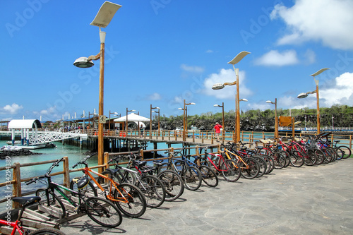 Poster South America Country Bicycle parking on the waterfront in Puerto Ayora, Santa Cruz Is