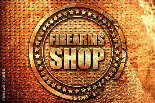 Fotografía  firearms shop, 3D rendering, grunge metal stamp