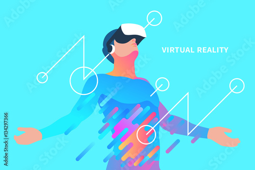 Enthusiastic man in virtual reality. Vector illustration Tableau sur Toile