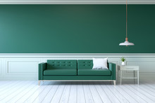 Vintage Green Room ,Minimalist  Interior , Green Sofa With  Table  And Lamp On Green Wall And White Wood Flooring , 3d Render