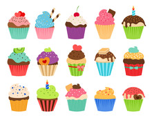 Cupcakes Flat Icons. Delicious...