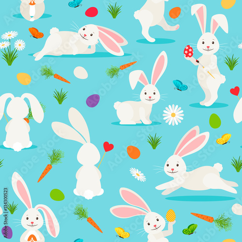 Cotton fabric Cute white rabbit seamless pattern. Bunny Easter vector background