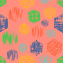 Seamless Vector Geometrical Pattern Endless Background With Hand Drawn Textured Geometric Figures. Graphic Illustration Template For Wrapping, Web Backgrounds, Wallpaper