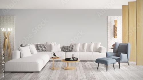 Valokuva  Modern bright interior . 3D rendering