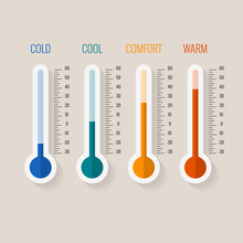 Temperature Measurement From Cold To Hot, Thermometer Gauges Set Vector Illustration