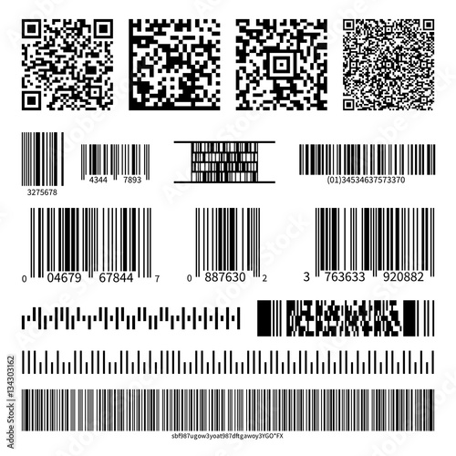 Valokuva  Business barcodes and QR codes vector set