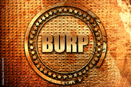 Fotografia, Obraz  burp, 3D rendering, grunge metal stamp